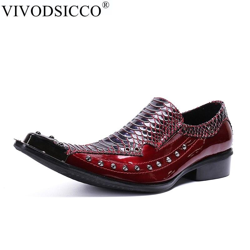 Oxfords Negocio Moda De Serpiente Vestido Nuevo Vivodsicco Hombre Negro Cuero Boda rojo Los Social Zapatos Sapato Hombres Remaches R6wUx5q4x