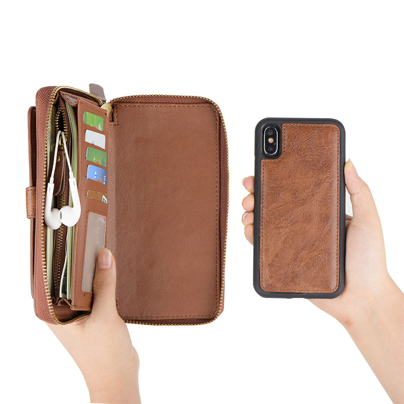 Multifunction Zipper Luxury PU Leather Wallet Case For iPhone XS X 6 6S 7 8 Plus Stand Back Cases For iPhone 6 6S Bags Capinha in Wallet Cases from Cellphones Telecommunications