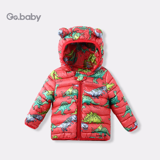 9de6d2714 Hooded Winter Children s Jackets Kids Dinosaur Coats Down Cotton ...