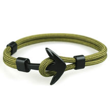 1 Pcs Sell Fashion ID Bracelets Black Color Anchor Men Survival Rope Chain Bracelet Male Wrap Metal Sport Hooks(China)