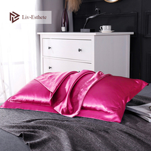 цена на Liv-Esthete 100% Nature Mulberry Satin Rose Red Silk Pillowcase Wholesale Queen King 19 Color Silky Pillow Case For Women Men