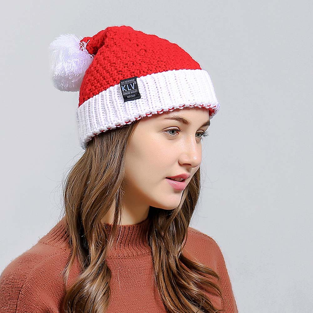d55e883a564 Woman Winter Hat for Christmas Women s Beanie Hats Red Knitted Cap Skully  Warm Ski Hat Trendy