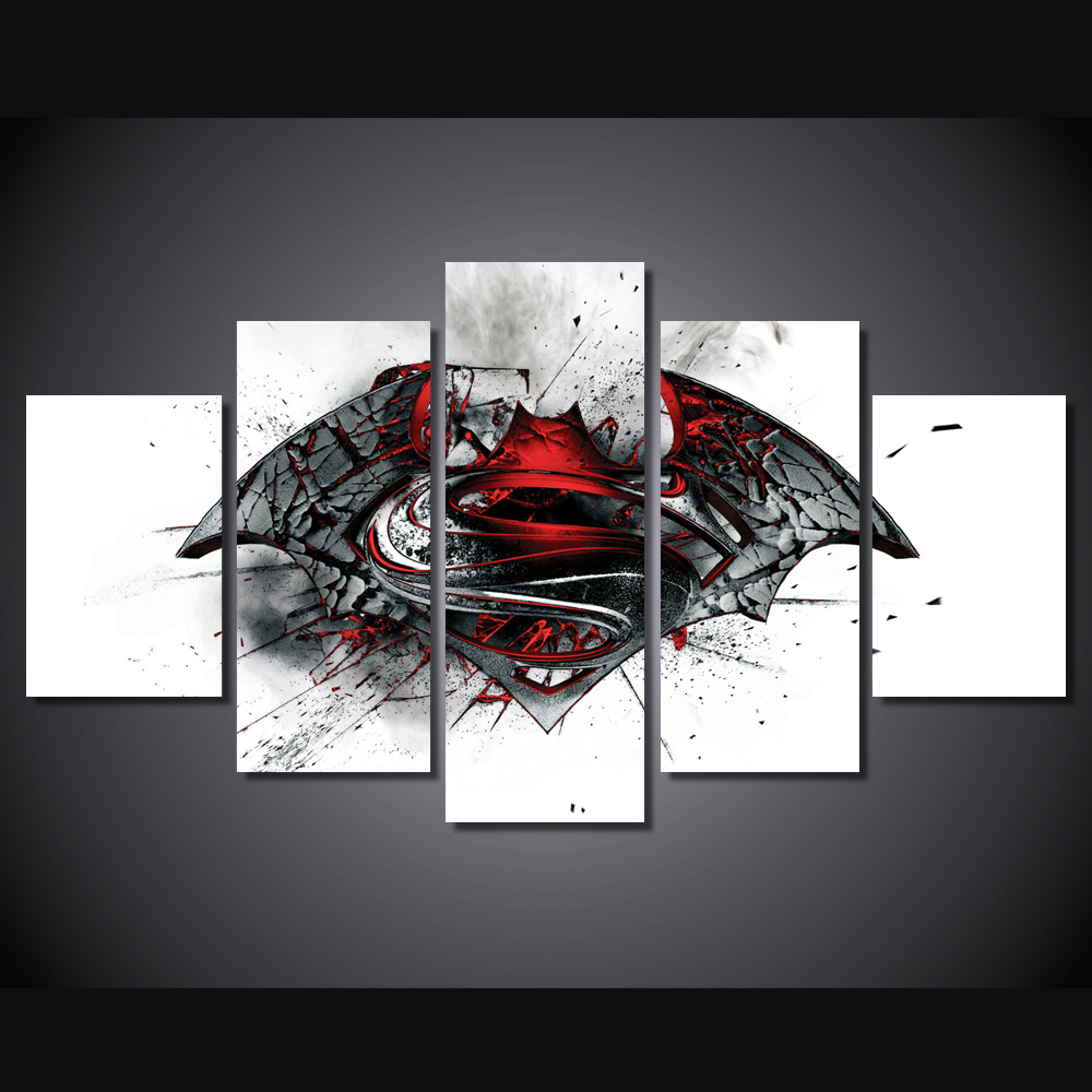 Hd printed batman vs superman movie painting wall art canvas hd printed batman vs superman movie painting wall art canvas pictures for living room unframed 5 pcs modular pictures new poster in painting calligraphy amipublicfo Image collections