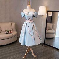 2019 Ensotek New Sky Blue Satin Lace Appliques Dresses for Wedding Party Off the Shoulder Formal Evening Gowns Vestidos Swing