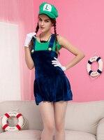Gratis verzending Sexy Volwassen Dames Super Mario Luigi Bro Loodgieter Kostuum Vrouwen Fancy Dress Outfit Sml XL 2XL