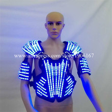 Лидер продаж LED робот световой костюм Костюмы/светло Костюмы светодиод мигает выполнение Панцири для сценического шоу Костюмы для бальных танцев Одежда для танцев