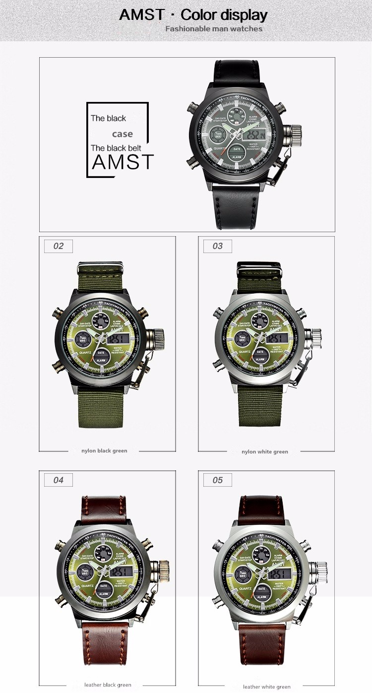 AMST Military Watches Dive 50M Nylon&Leather Strap LED Watches Men Top Brand Luxury Quartz Watch reloj hombre Relogio Masculino 8