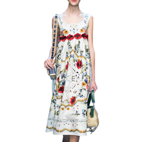 Runway Dress 2018 Summer Dresses Embroidered Printed Spaghetti Strap Dresses Women Vestidos NP SD156