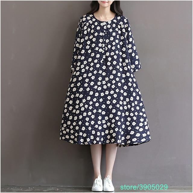 a8bd1e0feb Women Office Dress mori girl japanese dress Plus Size Women Clothing Loose  Floral Print Spring Dress vestido de festa