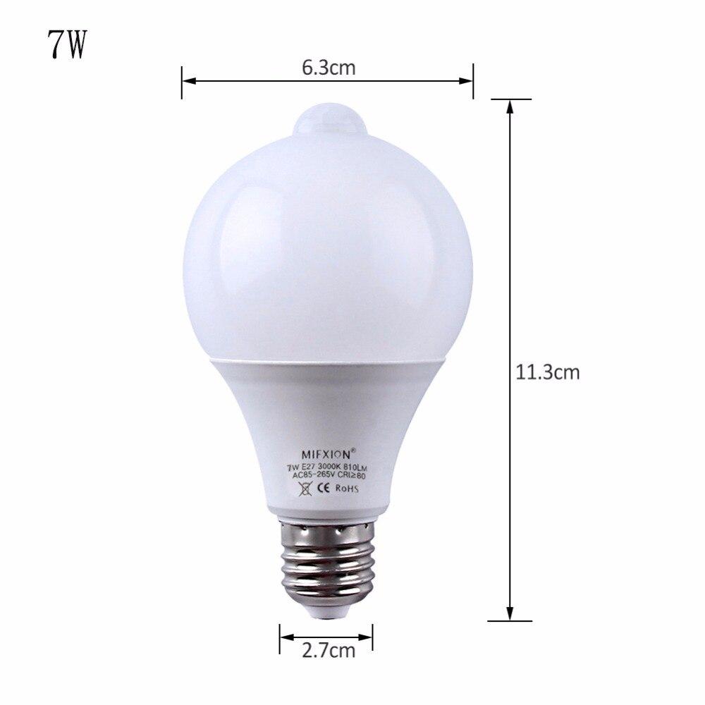 10 шт. Светодиодная лампа с датчиком движения PIR светодиодная лампа 7 Вт 9 Вт Авто умная светодиодная Инфракрасная Лампа PIR + свет E27 датчик движ... - 5
