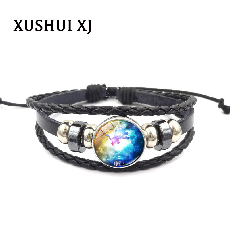 XUSHUI XJ Fashion Multilayer braided bracelet 12 constellations Glass Cabochon Punk Jewelry Black leather bracelet Women Gifts