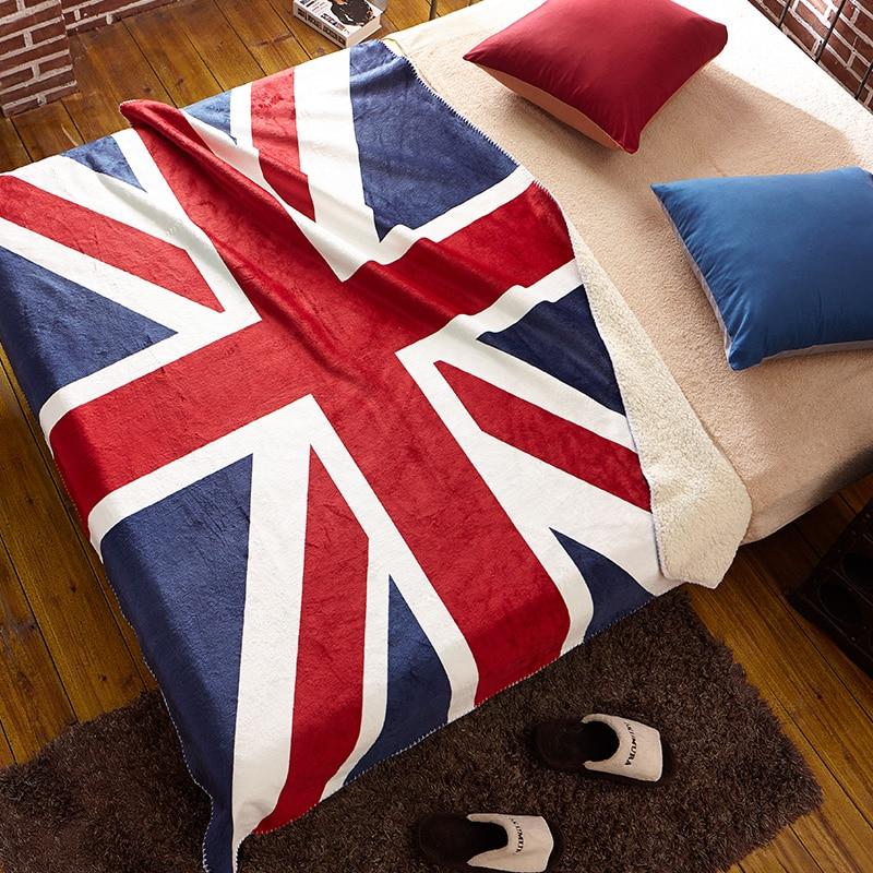 Idouillet Uk Flag British Sherpa Plush Fleece Cashmere