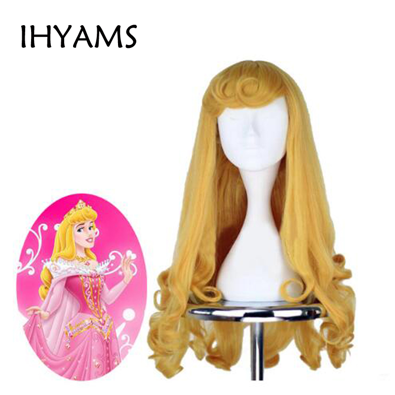 Anime Sleeping Beauty Princess Aurora Wig Briar Rose Women Long Yellow Hair Cosplay Costume Halloween Party Wigs + Wig Cap