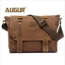 Купить с кэшбэком 2016 Canvas Leather Crossbody Bag Men Military Army Vintage Messenger Bags Sports Shoulder Bag Casual Travel Bags 34*33*8cm