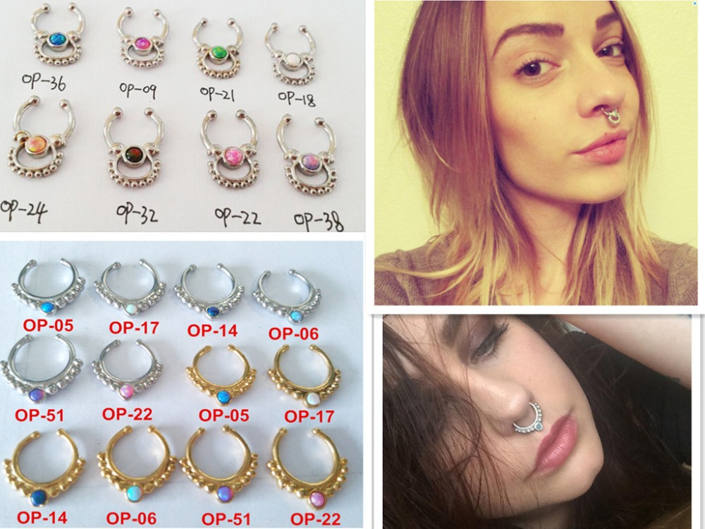 2015 NEW steel silver gold opal indian tribal fake faux septum