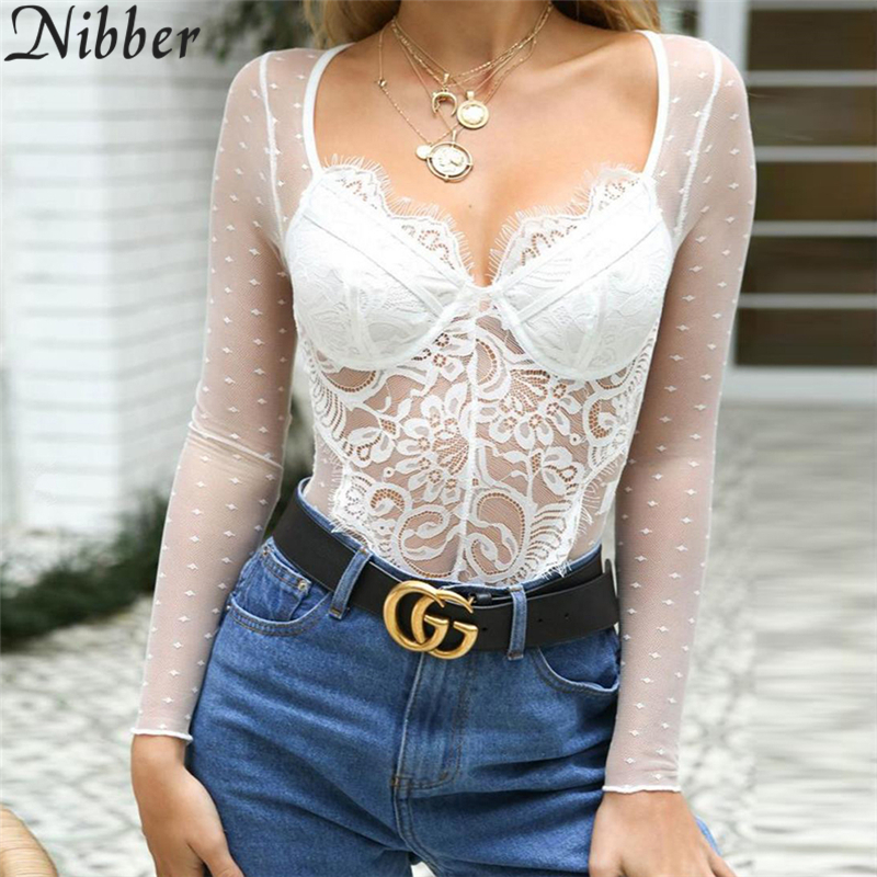 Nibber 2018 Sleeveless Slim Jumpsuits V neck Solid Sexy Bodysuit Long Sleeve Romper Party Top women Overalls Bodysuit Outfits