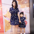 Лето Корейский мать и Семья установлены Мать Дочь Платье Семья смотреть Мама И Дочь платья цветочные талии шифона платье
