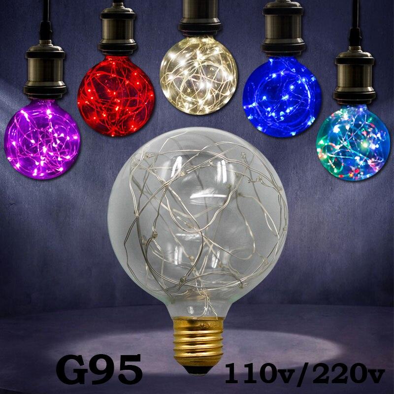 Lights & Lighting Vintage Design Fairy Led Bulb E27 85v-265v Rgb String Light Filament Led Lamp Retro Edison Led Holiday String Bulb G60 G95 220v