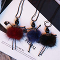 2017 new fashion doll girl dancing  charms necklace soft mink fur black long beads chain womens brithday party jewelry