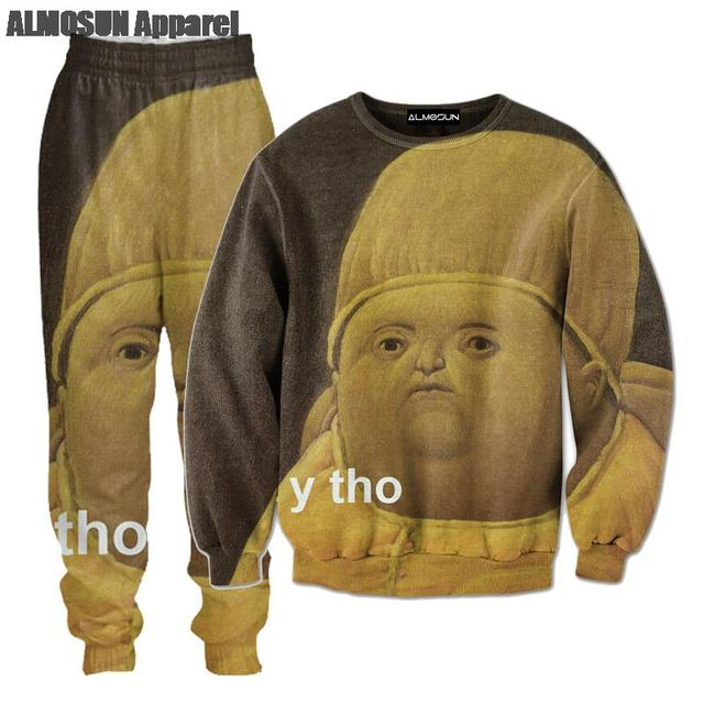 59639028c9c ALMOSUN Y Tho 3D All Over Print Tracksuits Sweatshirts Hipster Drawstring  Pants Fashion Streetwear Women Men