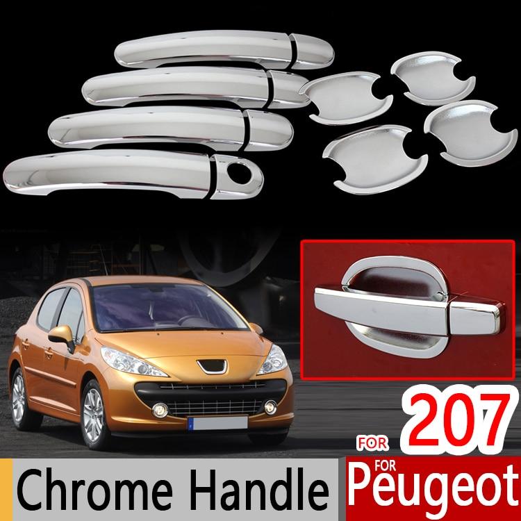Prix pour Pour Peugeot 207 Accessoires Chrome Styling Porte Poignées Couvre 207cc 207sw Immobilier Autocollant Décoration Extérieure Car Styling 2006