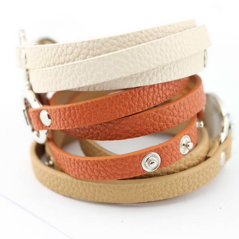 13 Colors Option Leather Wrap Monogram Bracelet  Blank Disc Charm - Fashion Jewelry - Photo 3