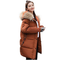 parka women winter new hat colored collar Big fur down parka women thickened parka long