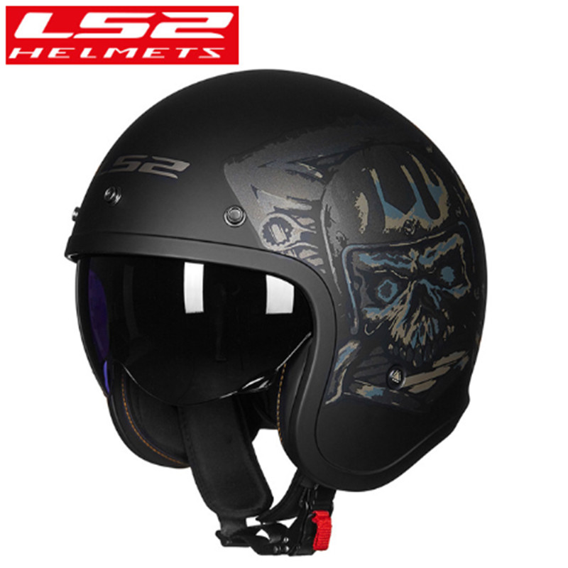 100% Original LS2 OF599 Open Face Motorcycle Helmet With Double Lens Vintage Retro Casco Moto Capacete Ls2 Sctooter Casque Moto