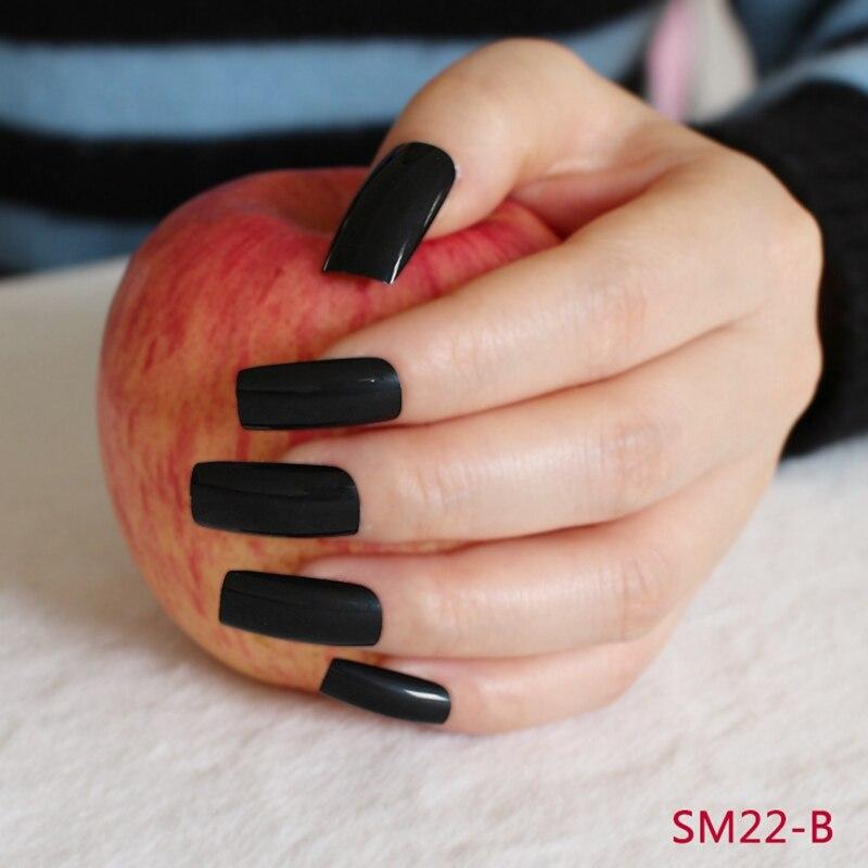 Flat Ultra Long Acrylic Nail Tips Pure Black Shiny Fake Nails Full ...