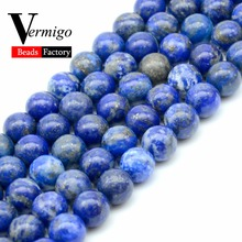 цена 3A Lapis Lazuli Natural Stone Beads For Needlework Diy Jewelry Making Bracelet Necklace 4 6 8 10 12mm 15