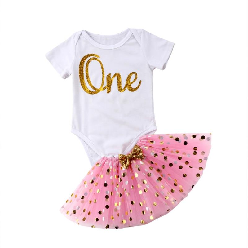 Newborn Baby Girl Kids Summer Princess Clothing Sets Romper Bodysuit+Polka Dot Lace Bow Tutu Skirts Dress Sunsuit Clothes Set
