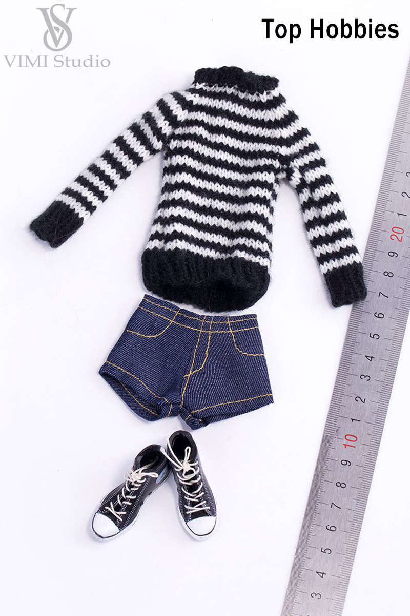 VIMI Studio 1/6 Black Sweater Jeans Short Pants Suit Clothes Fit/12 Inch Female Phicen/Jodoll/VERYCOOL Body Doll VS033