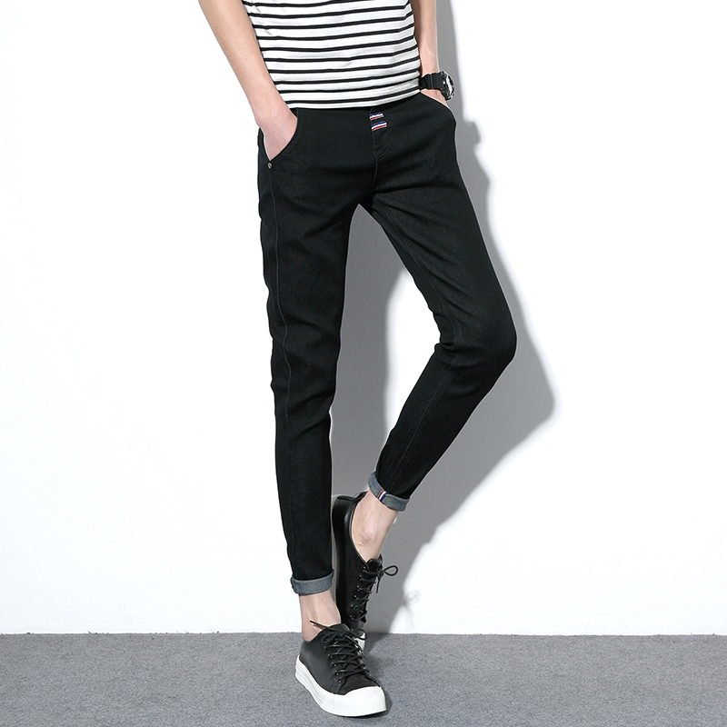 Teen Fashion Casual Mens Jeans Blue Black Size 27 28 29 30 31 32 33 34 36 Men Ankle-Length Pants Slim Comfortable Male Trousers