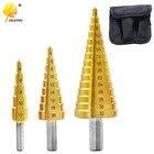 3pcs/lot HSS Steel Large Step Cone Titanium Coated Metal Drill Bit Cut Tool Set Hole Cutter 4-12/20/32mm