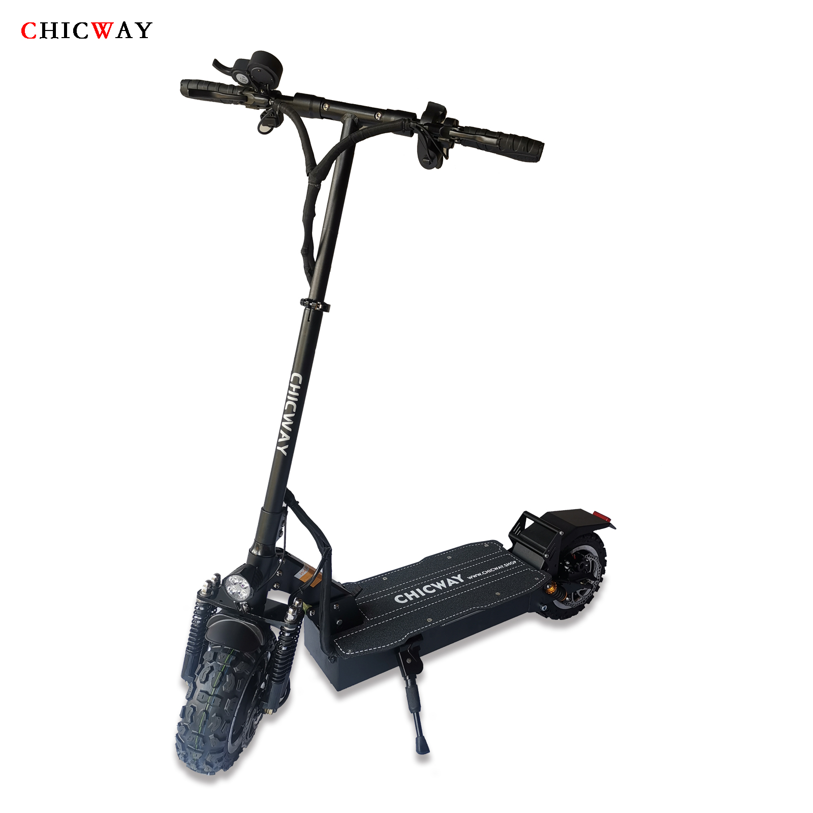 2019 Newest CHICWAY knight <font><b>Electric</b></font> <font><b>scooter</b></font> 11inch Off-road double drive and oil brake spring suspension 26AH,3200W,max 65km/h image