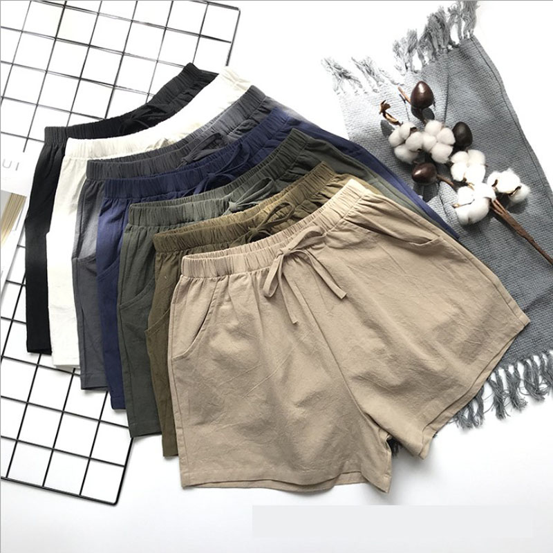 Women Summer Flax Shorts Cotton and linen Trousers High Waist Lady's Loose and Comfortable Hot breeches Girls' Casual Garments 1