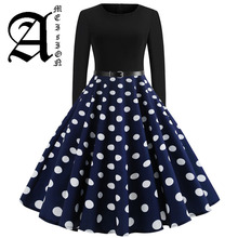 цена Black Winter Dress Women Polka Dot Patchwork Elegant Vintage Dress Long Sleeve Big Swing Plus Size Party Dresses Casual Chrismas