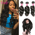 7A Malaysian Loose Curly 360 Lace Frontal Closure With 3 Bundle Deals Malaysian Virgin Hair Loose Wave With 360 Frontal Closure