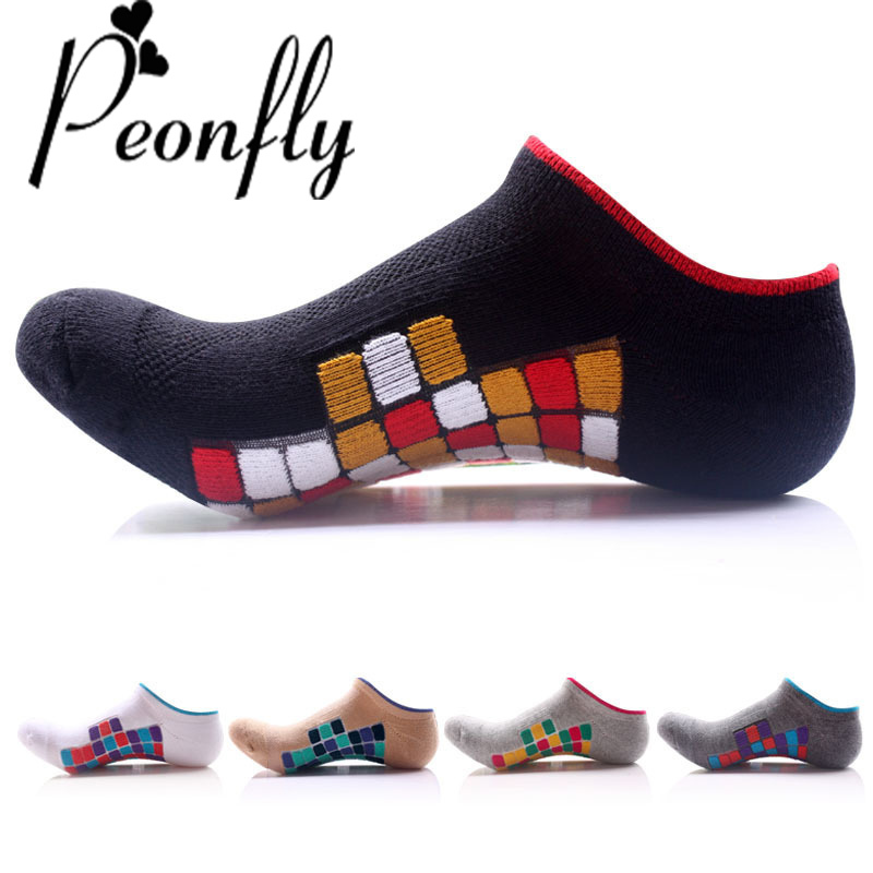 PEOMFLY 5 Colors High Quality Men Grid Breathable Casual Short Socks Male Colorful Square Cotton Socks Thick Low Cut Ankle Socks