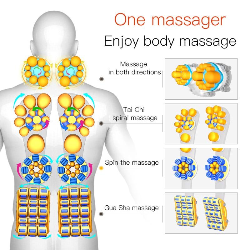 Silla de masaje almohadilla cervical Dispositivo de masaje cuello almohadilla de masaje multifuncional de hogar almohada cojín de cuerpo completo - 5