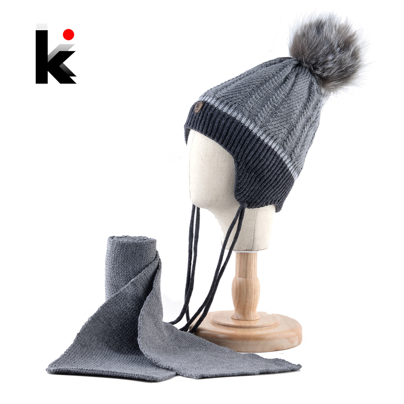 e356a5a6915 K Brand Warm Children Hat Scarf Set Winter Thick Knitted Faux Fur Pompom Beanie  Cap Boys Girls Knit Ears Cap Kids Baby Hats Set-in Skullies   Beanies from  ...