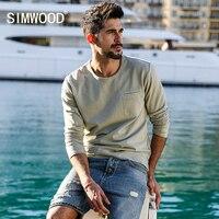 SIMWOOD 2018 Spring New Chest Pocket Sweatshirts Men Slim Fit Casual Washed Vintage Hoodies O Neck