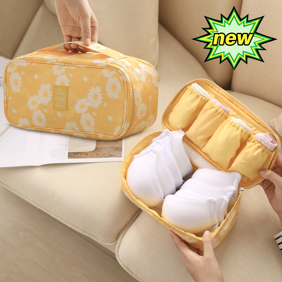 Image 2 - Travel Underwear Organiser, New Daisy Yellow Large Capacity Waterproof Women Ladies Bra Case Travel Pouch Bag Multiple Pockets-in Drawer Organizers from Home & Garden