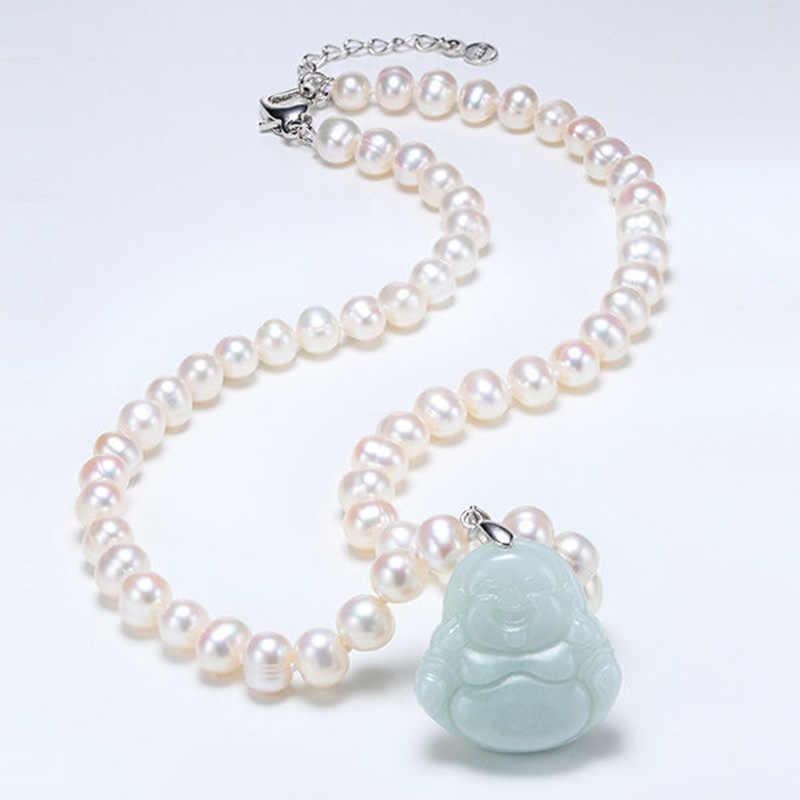 6-7MM naszyjnik z pereł słodkowodnych perła Jade Maitreya wisiorek dla matki jadeitowy naszyjnik