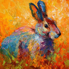 Oil Style 5D DIY Diamond Painting Rabbit Full Square  Embroidery Mosaic Crystals Animals Needlework