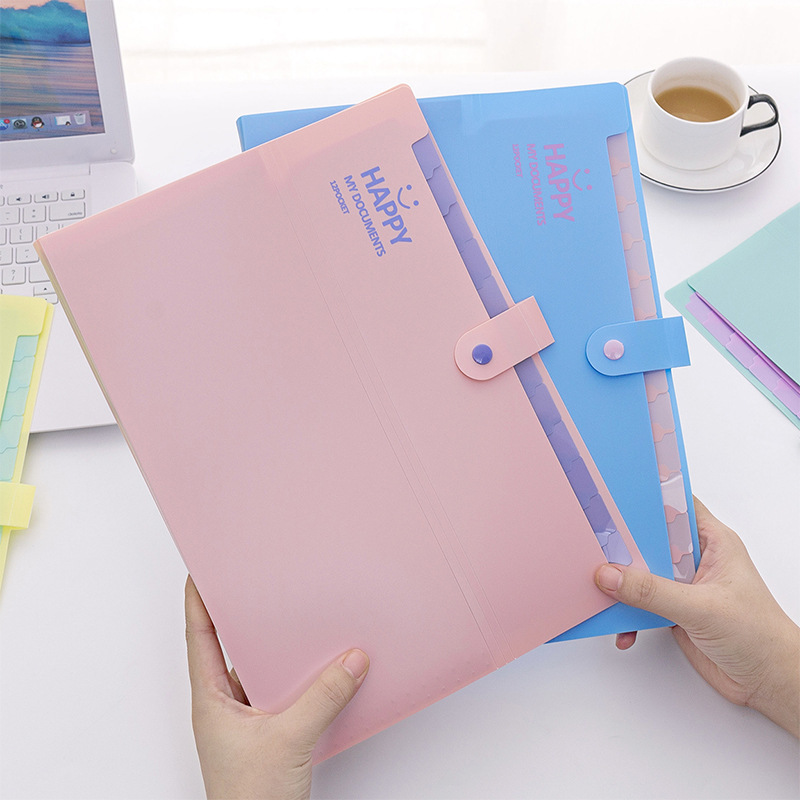 1pcs Korean Version Of Cute Smiling A4 Folder Multi-layer Organ Package School Supplies Stationery