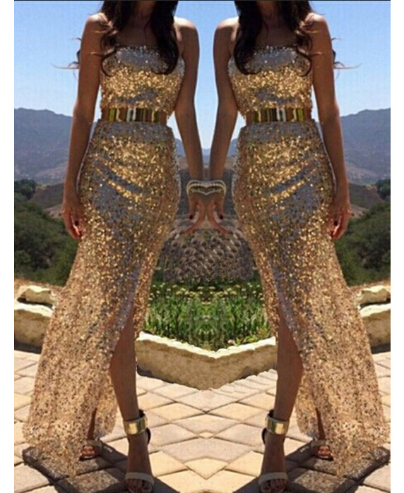 TFGS 2016 New Arrival Long Prom Ball Gold Sequins Party Dress Sleeveless Sexy Dress