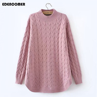 Plus Size Women Clothing 2017 Autumn And Winter New Half Turtleneck Long Hemp Flowers Female Sweater