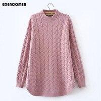 Plus Size Women Clothing 2017 Autumn And Winter New Half Turtleneck Long Hemp Flowers Female Sweater