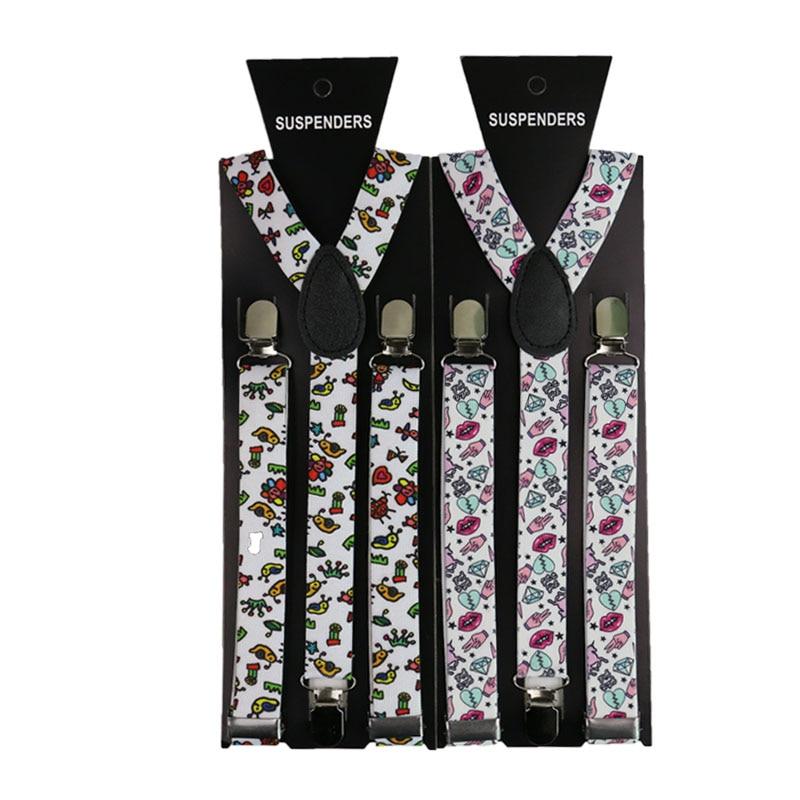 Fashion Cartoon Print Suspenders 2.5cm Men Women Unisex Y-back Classic Suspender Braces